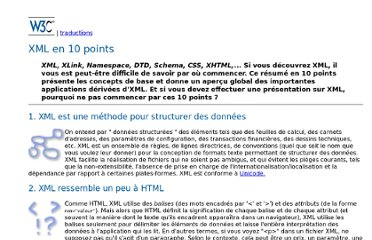 http://www.w3.org/XML/1999/XML-in-10-points.fr.html