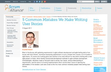 http://www.scrumalliance.org/articles/366--common-mistakes-we-make-writing-user-stories