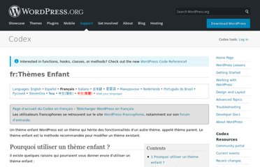 http://codex.wordpress.org/fr:Th%C3%A8mes_Enfant
