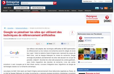 http://www.commentcamarche.net/news/5858612-google-va-penaliser-les-sites-qui-utilisent-des-techniques-de-referencement-artificielles