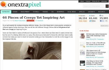 http://www.onextrapixel.com/2010/08/03/66-pieces-of-creepy-yet-inspiring-art/