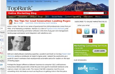 http://www.toprankblog.com/2007/09/ten-tips-for-lead-generation-landing-pages/