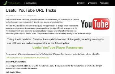 http://www.techairlines.com/2010/08/21/useful-youtube-url-tricks/