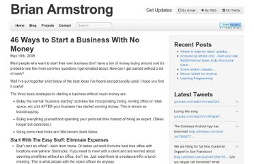 http://brianarmstrong.org/blog/46-ways-to-start-a-business-with-no-money