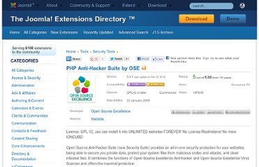 http://extensions.joomla.org/extensions/tools/security-tools/7032