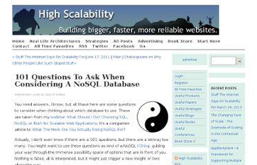 http://highscalability.com/blog/2011/6/15/101-questions-to-ask-when-considering-a-nosql-database.html