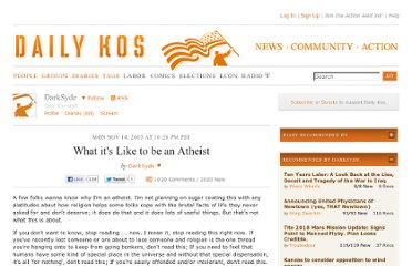http://www.dailykos.com/story/2005/11/15/165089/-What-it-s-Like-to-be-an-Atheist