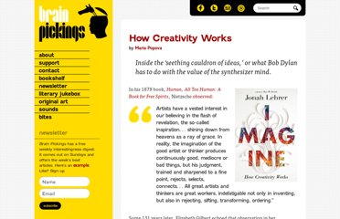 http://www.brainpickings.org/index.php/2012/03/20/jonah-lehrer-imagine-how-creativity-works/