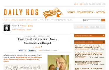 http://www.dailykos.com/story/2011/09/28/1020910/-Tax-exempt-status-of-Karl-Rove-s-Crossroads-challenged