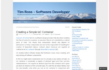 http://timross.wordpress.com/2010/01/21/creating-a-simple-ioc-container/