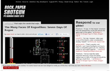 http://www.rockpapershotgun.com/2012/03/20/the-many-faces-of-roguelikes-seven-days-of-rogue/