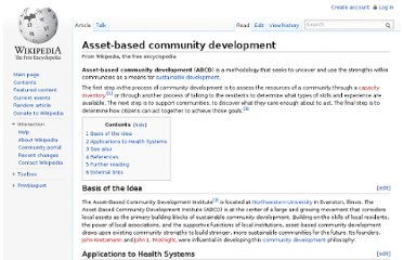 http://en.wikipedia.org/wiki/Asset-based_community_development