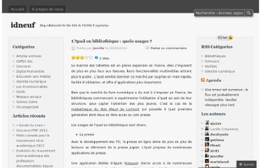 http://idneuf.wordpress.com/2012/03/20/lipad-en-bibliotheque-quels-usages/