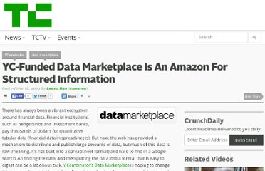 http://techcrunch.com/2010/03/18/yc-funded-data-marketplace-is-an-amazon-for-structured-financial-information/