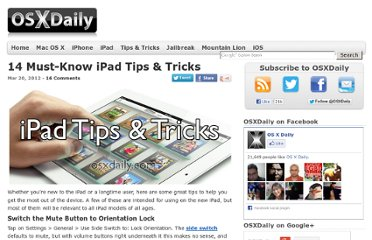 http://osxdaily.com/2012/03/20/14-ipad-tips-tricks/