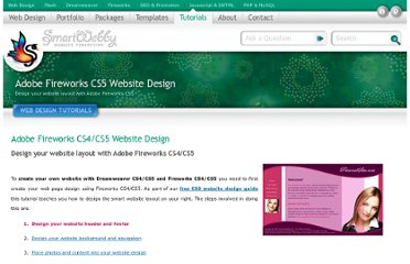 http://www.smartwebby.com/free_tutorials/CSS_website_design_guide/adobe_fireworks_CS4_tutorials/fireworks_website_design.asp