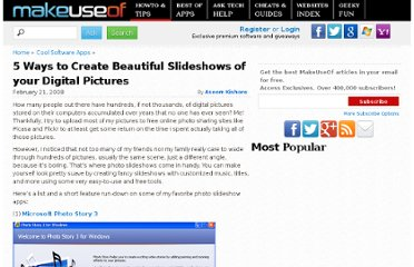 http://www.makeuseof.com/tag/5-ways-to-create-beautiful-slideshows-of-your-digital-pictures/
