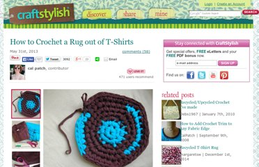 http://www.craftstylish.com/item/39345/how-to-crochet-a-rug-out-of-t-shirts/page/all