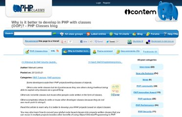 http://www.phpclasses.org/blog/post/178-Why-is-it-better-to-develop-in-PHP-with-classes-OOP.html