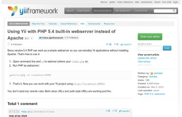 http://www.yiiframework.com/wiki/313/using-yii-with-php-5-4-built-in-webserver-instead-of-apache/