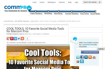 http://www.commpro.biz/the-pulse/cool-tools-10-favorite-social-media-tools-for-marcom-pros/