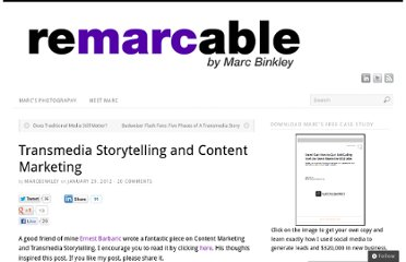 http://blog.marcbinkley.ca/transmedia-storytelling-and-content-marketing/