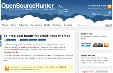 http://www.opensourcehunter.com/2009/03/03/55-free-and-beautiful-wordpress-themes/