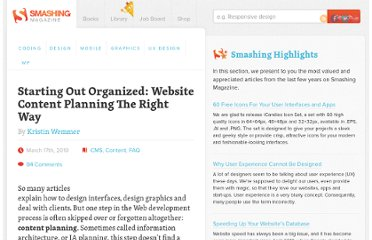 http://www.smashingmagazine.com/2010/03/17/starting-out-organized-website-content-planning-the-right-way/