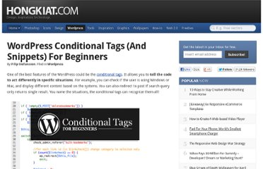 http://www.hongkiat.com/blog/wordpress-conditional-tags-beginners/