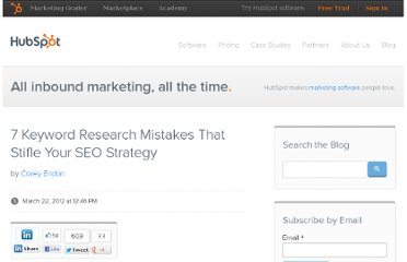 http://blog.hubspot.com/blog/tabid/6307/bid/31977/7-Keyword-Research-Mistakes-That-Stifle-Your-SEO-Strategy.aspx