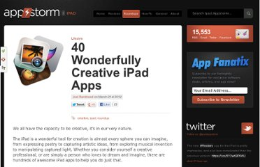 http://ipad.appstorm.net/roundups/lifestyle-roundups/40-wonderfully-creative-ipad-apps/