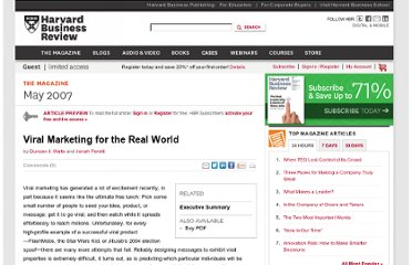 http://hbr.org/2007/05/viral-marketing-for-the-real-world/ar/1