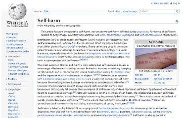 http://en.wikipedia.org/wiki/Self-harm
