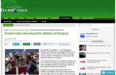 http://technology.inquirer.net/1852/social-media-rules-issued-for-athletes-at-olympics