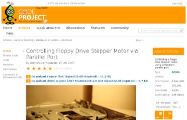 http://www.codeproject.com/Articles/16715/Controlling-Floppy-Drive-Stepper-Motor-via-Paralle