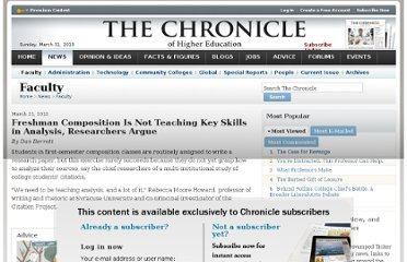 http://chronicle.com/article/Freshman-Composition-Is-Not/131278/?key=QTh7IwRuZiNNNnljZG1HY2xQYHY%2BOUMmanVFYnh2bl9VFg%3D%3D