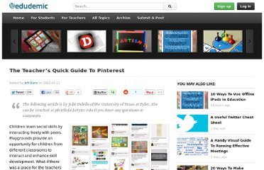 http://edudemic.com/2012/03/the-teachers-quick-guide-to-pinterest/