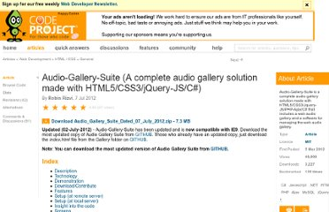 http://www.codeproject.com/Articles/333670/Audio-Gallery-Suite-A-complete-audio-gallery-solut
