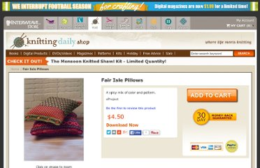 http://www.interweavestore.com/Knitting/Patterns/Fair-Isle-Pillows.html