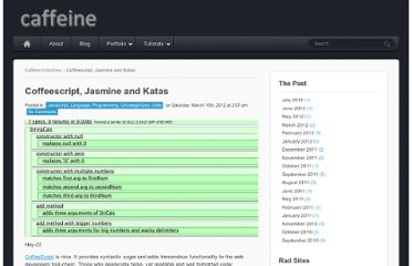 http://caffeineindustries.com/2012/03/coffeescript-jasmine-and-katas/