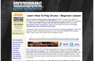 http://www.rockdrummingsystem.com/underground/drum-lessons/learn-to-play-drums.php