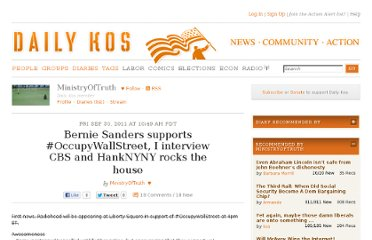 http://www.dailykos.com/story/2011/09/30/1021452/-Bernie-Sanders-supports-OccupyWallStreet-I-interview-CBS-and-HankNYNY-rocks-the-house