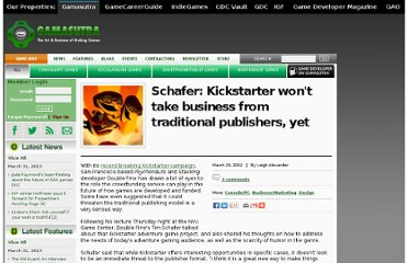 http://www.gamasutra.com/view/news/167141/Schafer_Kickstarter_wont_take_business_from_traditional_publishers_yet.php