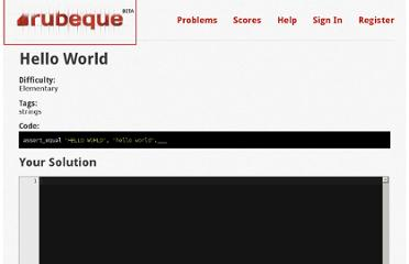 http://rubeque.com/problems/hello-world