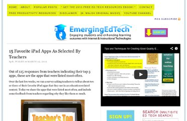http://www.emergingedtech.com/2012/03/15-favorite-ipad-apps-as-selected-by-teachers/