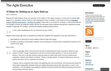 http://theagileexecutive.com/2009/08/31/10-steps-for-setting-up-an-agile-start-up/