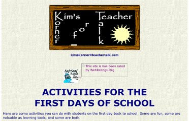 http://www.kimskorner4teachertalk.com/classmanagement/firstday.html