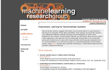 http://www.cs.utexas.edu/~ml/publications/area/119/learning_for_recommender_systems