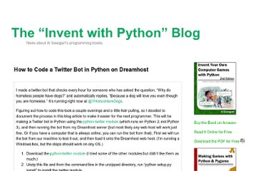 http://inventwithpython.com/blog/2012/03/25/how-to-code-a-twitter-bot-in-python-on-dreamhost/