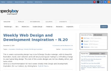 http://speckyboy.com/2009/12/12/weekly-web-design-and-development-inspiration-n-20/